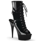 Black Shiny 15,5 cm DELIGHT-1016 Open Toe Platform Ankle Calf Boots