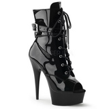 Black Shiny 15 cm DELIGHT-1033 Open Toe Platform Ankle Calf Boots