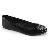 Black Shiny STAR-24 gothic ballerina shoes flat heels