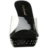 Black Transparent 14 cm COCKTAIL-501SDT Mules Strass Heels