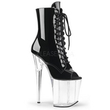 Black Transparent 20 cm FLAMINGO-1021 womens platform soled ankle boots