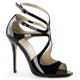 Black Varnish 13 cm AMUSE-15 High Heeled Evening Sandals