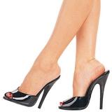 Black Varnish 15 cm DOMINA-101 Women Mules Shoes