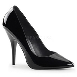 Black Varnished 13 cm SEDUCE-420 Women Pumps Shoes Flat Heels