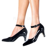 Black Varnished 8 cm DIVINE-431W Women Pumps Shoes Flat Heels
