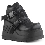 Black Vegan 12,5 cm STOMP-15 lolita ankle boots wedge platform