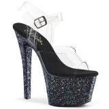 Black glitter 18 cm Pleaser SKY-308LG Pole dancing high heels shoes