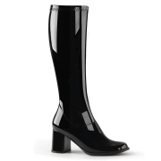 Black patent boots 7,5 cm GOGO-300 High Heeled Womens Boots for Men