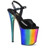 Black sandals platform 20 cm FLAMINGO-809RC pleaser high heels sandals