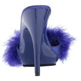 Blu 13 cm POISE-501F piume di marabu Mules Scarpe