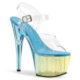 Blu 18 cm ADORE-708MCT Acrilico plateau sandali donna con tacco