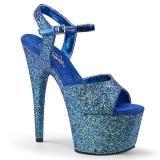 Blu 18 cm ADORE-710LG scintillare plateau sandali donna con tacco