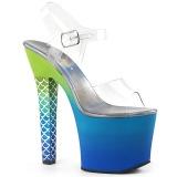 Blu 18 cm ARIEL-708OMBRE Acrilico plateau sandali donna con tacco