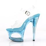 Blu 18 cm MOON-708GFT scintillare plateau sandali donna con tacco