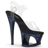 Blu 18 cm MOON-708HSP Ologramma plateau sandali donna con tacco