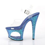 Blu 18 cm MOON-708LG scintillare plateau sandali donna con tacco