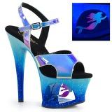 Blu 18 cm MOON-711MER Neon plateau sandali donna con tacco