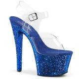 Blu 18 cm SKY-308LG scintillare plateau sandali donna con tacco