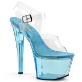 Blu 18 cm SKY-308T Acrilico plateau sandali donna con tacco