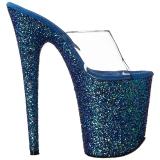 Blu 20 cm FLAMINGO-801LG scintillare plateau ciabatta donna con tacco