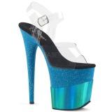 Blu 20 cm FLAMINGO-808-2HGM scintillare plateau sandali donna con tacco