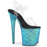 Blu 20 cm FLAMINGO-808MSLG scintillare plateau sandali donna con tacco