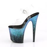 Blu 20 cm FLAMINGO-808SS scintillare plateau sandali donna con tacco