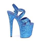 Blu 20 cm FLAMINGO-897LG scintillare plateau sandali donna con tacco