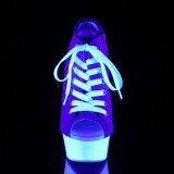 Blu Neon 15 cm DELIGHT-600SK-01 Scarpe da ginnastica con tacco in tela