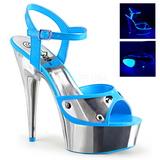 Blu Neon 15 cm DELIGHT-609NC Sandali Donna Plateau Cromo