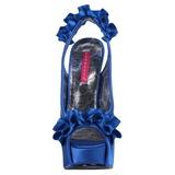Blu Raso 14,5 cm Burlesque TEEZE-56 Plateau Sandali Tacco Altissimo