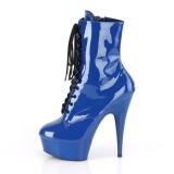 Blu Verniciata 15 cm DELIGHT-1020 stivaletti alti con lacci da pole dance