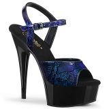 Blu Verniciata 15 cm DELIGHT-609SP sandali pleaser con plateau