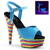 Blu Verniciato 15 cm DELIGHT-609RBS Sandali Donna Plateau Neon