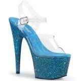 Blu scintillare 18 cm Pleaser ADORE-708LG scarpe con tacchi da pole dance