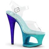 Blu scintillare 18 cm Pleaser MOON-708OMBRE scarpe con tacchi da pole dance