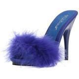 Blue 13 cm POISE-501F Marabou Feathers Mules Shoes