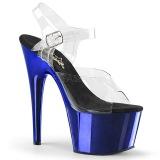 Blue 18 cm ADORE-708 Chrome Platform High Heels
