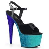 Blue 18 cm ADORE-709OMBRE glitter platform sandals shoes