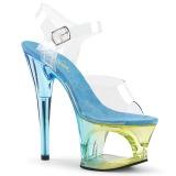 Blue 18 cm MOON-708MCT Acrylic platform high heels shoes