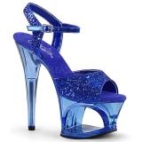 Blue 18 cm MOON-710GT glitter platform high heels shoes