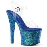 Blue 18 cm RADIANT-708LG glitter high heels shoes