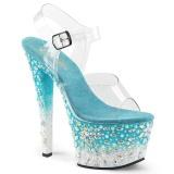 Blue 18 cm SKY-308FISH rhinestone platform high heels