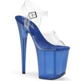 Blue 20 cm FLAMINGO-808TB Acrylic Platform High Heeled Sandal