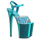 Blue 20 cm FLAMINGO-809MMRS glitter platform sandals shoes