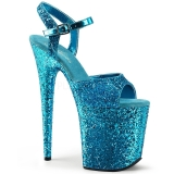 Blue 20 cm FLAMINGO-810LG glitter platform high heels shoes