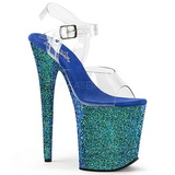 Blue Glitter 20 cm FLAMINGO-808LG Platform High Heeled Sandal Shoes