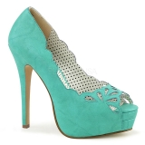 Blue Leatherette 13,5 cm BELLA-30 womens peep toe pumps shoes