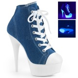 Blue Neon 15 cm DELIGHT-600SK-02 Canvas high heels chucks