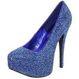 Blue Rhinestone 14,5 cm Burlesque TEEZE-06R Platform Pumps Women Shoes
